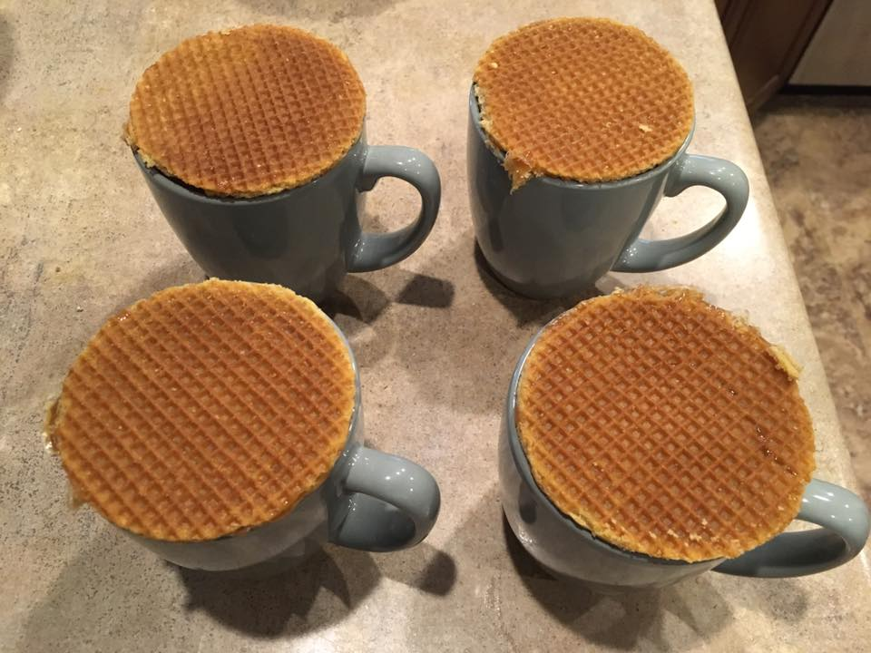 Stroopwafel - Waffle cookies warmed and softened by your hot beverage of choice.