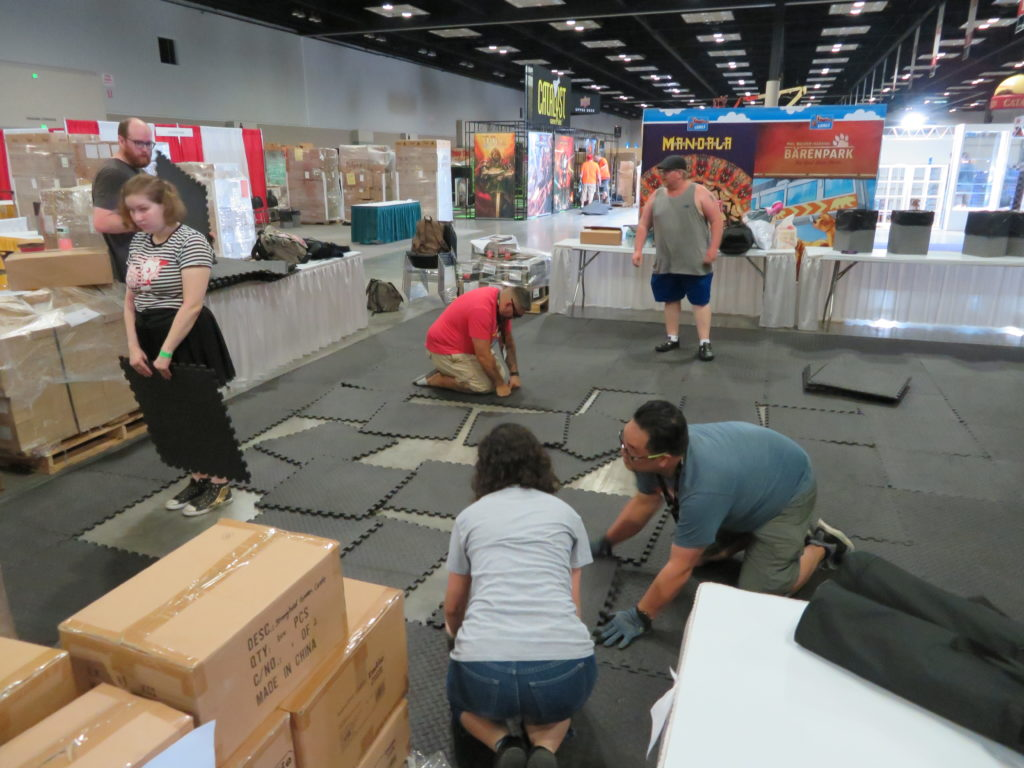Gen Con 2019 - Setting up Stronghold Games Booth