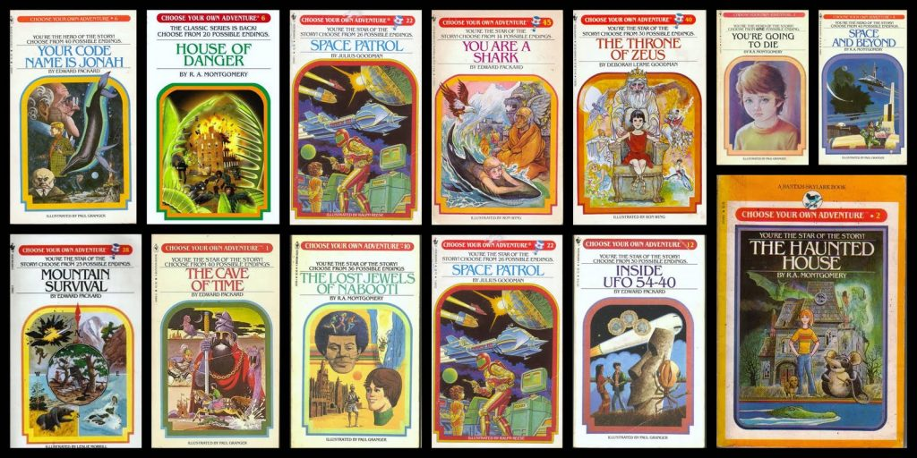 Choose Your Own Adventure book covers.